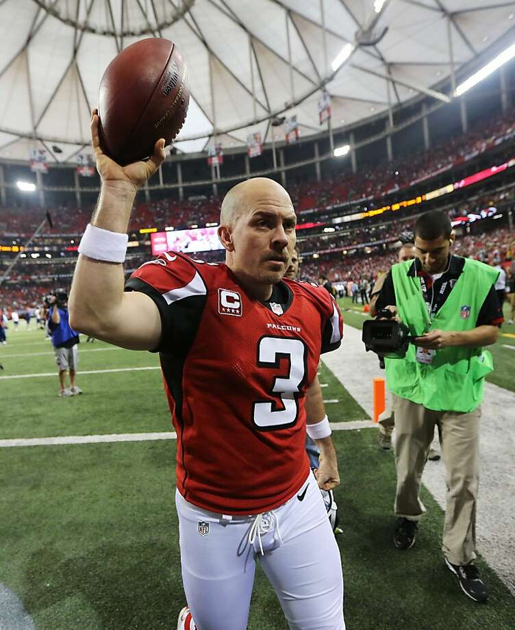 ATLANTA, GA - JANUARY 13:   Matt Bryant #3 of the Atlanta Falcons celebrates their 30 to 28 win over the Seattle Seahawks during the NFC Divisional Playoff Game at Georgia Dome on January 13, 2013 in Atlanta, Georgia.  (Photo by Streeter Lecka/Getty Images) Photo: Streeter Lecka, Getty Images