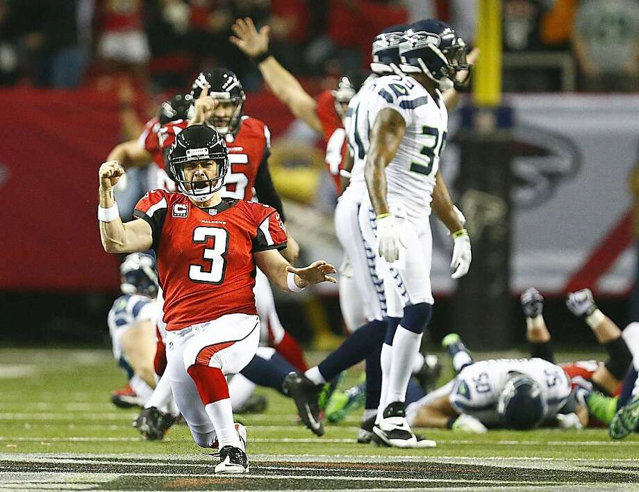 Atlanta Falcons kicker Matt Bryant celebrates after making a 49-yard field goal with 8 seconds left to play to effectively win the game against the Seattle Seahawks in an NFC divisional playoff game at the Georgia Dome on Sunday, January 13, 2013, in Atlanta, Georgia. The Atlanta Falcons defeated the Seattle Seahawks, 30-28. (John Lok/Seattle Times/MCT) Photo: John Lok, McClatchy-Tribune News Service