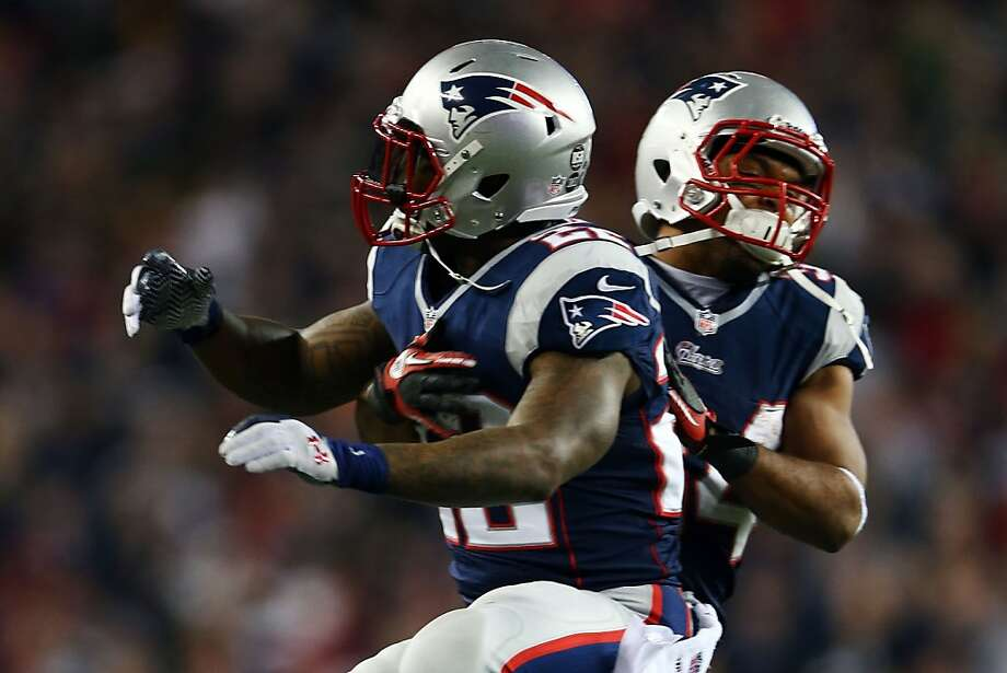 FOXBORO, MA - JANUARY 13:  Stevan Ridley #22 of the New England Patriots celebrates with Shane Vereen #34 after scoring a touchdown in the third quarter against the Houston Texans during the 2013 AFC Divisional Playoffs game at Gillette Stadium on January 13, 2013 in Foxboro, Massachusetts.  (Photo by Elsa/Getty Images) Photo: Elsa, Getty Images