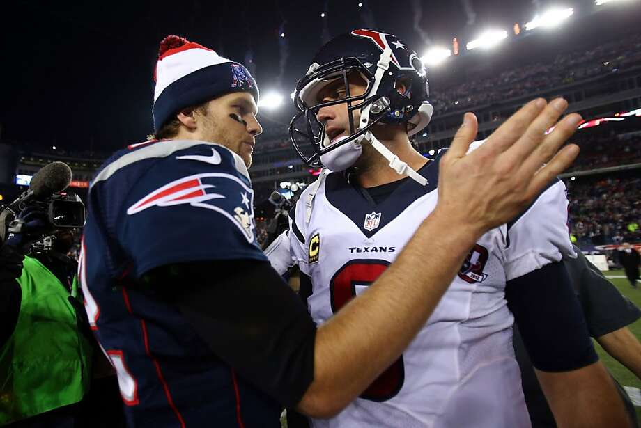 FOXBORO, MA - JANUARY 13:  Tom Brady #12 of the New England Patriots greets Matt Schaub #8 of the Houston Texans after the 2013 AFC Divisional Playoffs game at Gillette Stadium on January 13, 2013 in Foxboro, Massachusetts.  (Photo by Elsa/Getty Images) Photo: Elsa, Getty Images