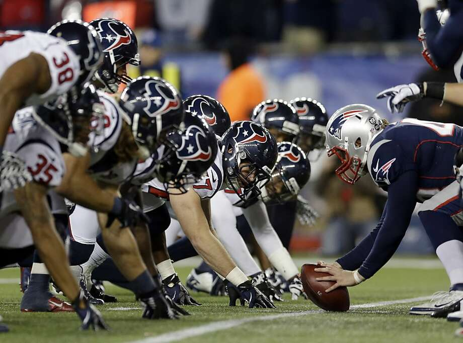 The Houston Texans defense awaits the snap during the second half of an AFC divisional playoff NFL football game against the New England Patriots in Foxborough, Mass., Sunday, Jan. 13, 2013. (AP Photo/Elise Amendola) Photo: Elise Amendola, Associated Press