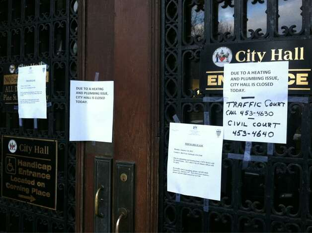 A flood forced the closure of Albany's City Hall on Monday, Jan. 14, 2013. (SKIP DICKSTEIN / TIMES UNION)
