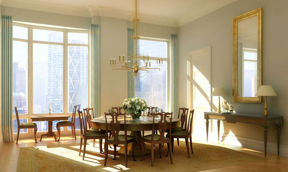 Model unit image of dining room from website of 15 Central Park West