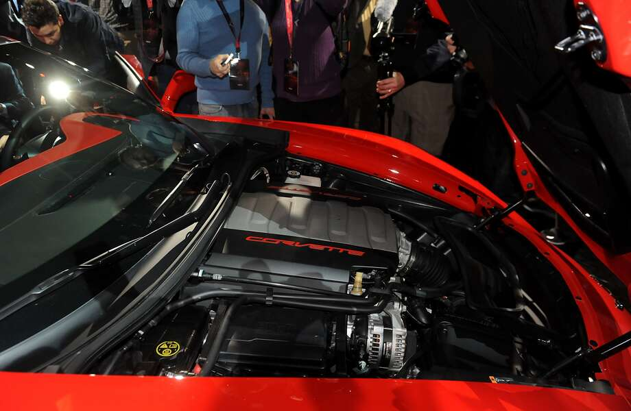 Revamped V-8 engine: The Corvette will be powered by a naturally aspirated 6.2-liter V-8 engine that will push out an estimated 450 horsepower. The revamped engine will make it the most powerful engine under the hood of a Corvette.Read more about the new C7 Corvette. Photo: Daniel Acker/Bloomberg