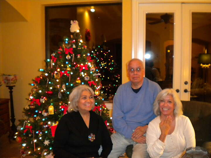 Now: From left: Siblings Maria, Juan and Celia Aguilera, Dec. 25, 2012 in Bulverde, Texas