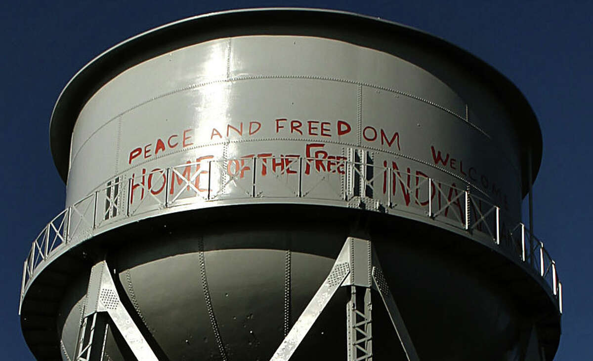 The National Park service has restored the grafitti the American Indians had placed on the landmark water tank on Alcatraz during their occupation in the sixties.