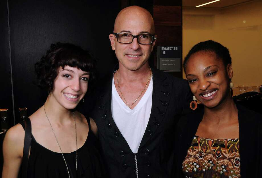 Dancer Jaqlin Medlock, from left, choreographer Stephen Petronio and dancer Davalois Fearon at a party hosted for them by the Society for the Performing Arts Young Professionals group at the Houston Ballet Center for Dance. Photo: Dave Rossman, Freelance / © 2012 Dave Rossman