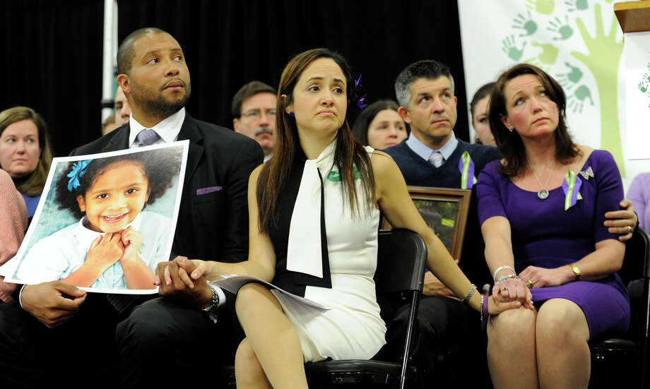 A press conference is held Monday morning, January 14, 2013,Sandy Hook Promise, a group of Sandy Hook parents starting a grassroots initiative to end gun violence. It is held at the Edmond Town Hall in Newtown. From left are Jimmy Greene and Nelba Marquez-Greene, parents of Ana, and Ian and Nicole Hockley, parents of Dylan. Both children are victims of the Sandy Hook School Elementary School shootings. Photo: Carol Kaliff / The News-Times