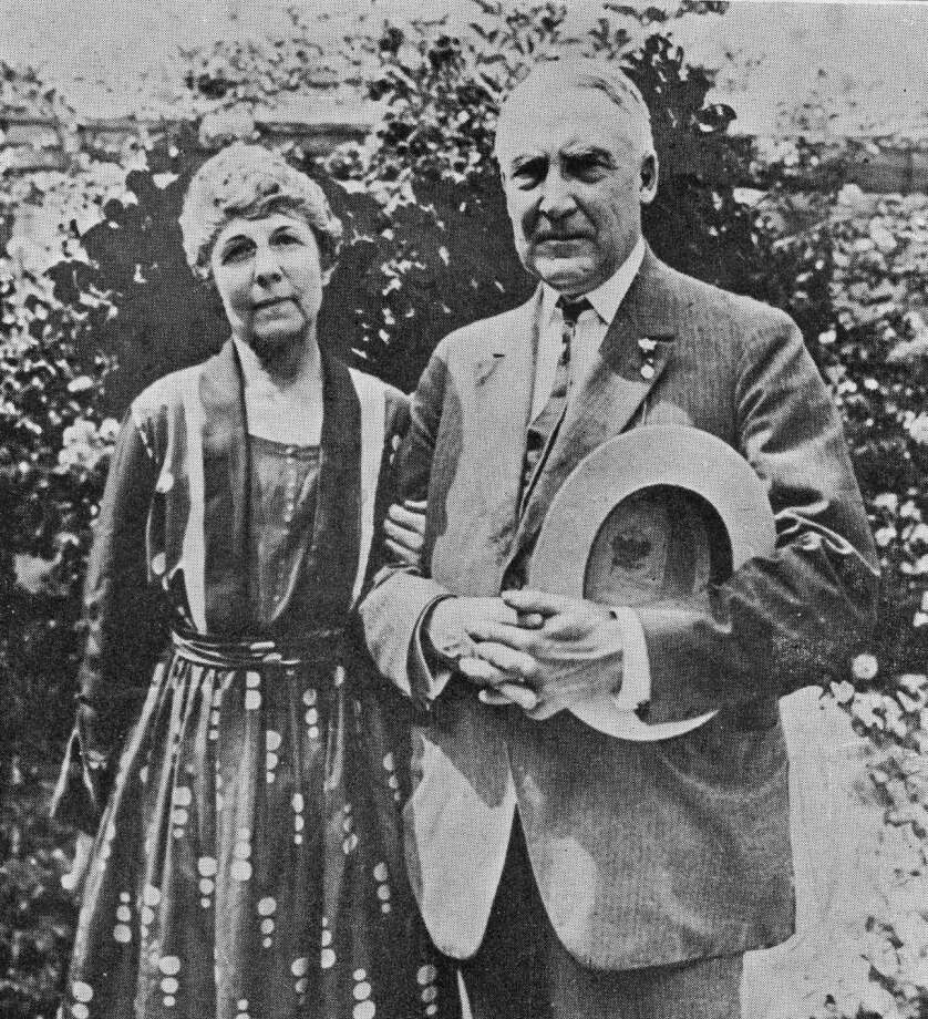 "Warren G. Harding, shown here with his wife, Florence Kling DeWolfe, is credited with coining the words ""normalcy"" and ""bloviate."""