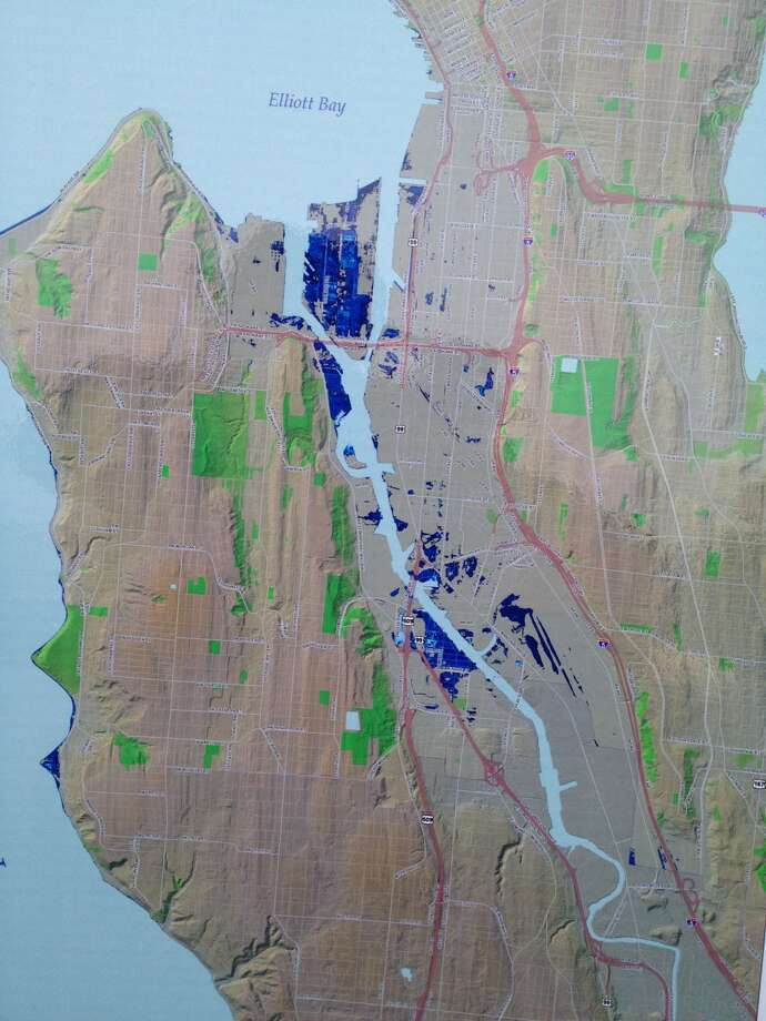 "This is a portion of the map by Seattle Public Utilities shows areas of Seattle that have the potential to be below sea level during high tide in 2050 under different sea level rise and extreme tide scenarios. The sea level rise estimates are based on the University of Washington's Climate Impacts Group report ""Sea Level Rise in the Coastal Waters of Washington State"" published January 2008.