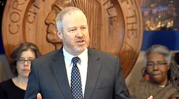 Seattle Mayor Mike McGinn announcing members of the Community Police Commission.  The mayor showed little interest in police issues when he ran in 2009,  He is now assuming the mantle of police reformer.  Several McGinn re-election supporters sit on the commission. Photo: Seattle Channel