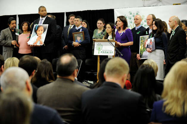 A press conference is held Monday morning, January 14, 2013, by Sandy Hook Promise, a grassroots initiative to end gun violence. It is held at the Edmond Town Hall in Newtown. Photo: Carol Kaliff / The News-Times