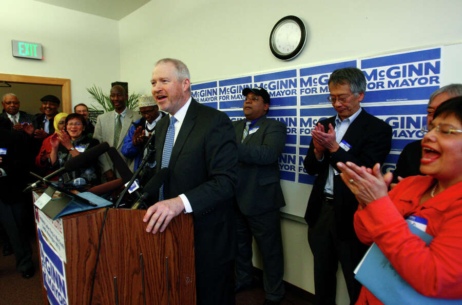 Seattle Mayor Mike McGinn announces he will seek a second term.