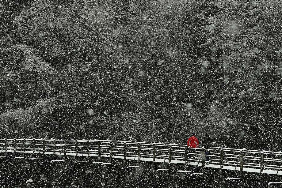 Amid falling flakes, a Briton crosses a snow-covered bridge in the village of Bolton Abbey, northern England. Photo: Paul Ellis, AFP/Getty Images