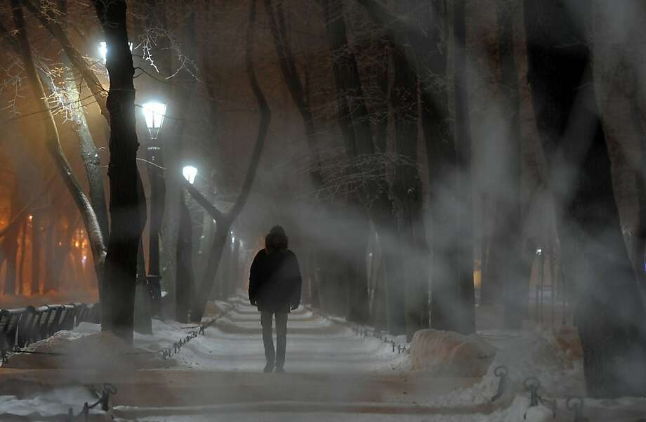 Night mist: Fog descends upon a snow-crusted street in Saint Petersburg, Russia. Photo: Olga Maltseva, AFP/Getty Images