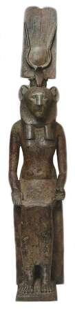 THis Lion-headed Goddess would have been used as a votive offering in Egypt. Photo: San Antonio Museum Of Art / Photography by Peggy Tenison. Contact the San Antonio Museum of Art for Rights and Reproductions.