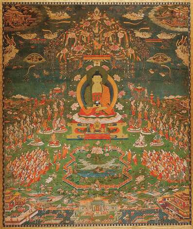 A thangka, or scroll painting, fepicting the Budhha Amitabha seated on a peacock throne Photo: San Antonio Museum Of Art / Photography by Peggy Tenison. Contact the San Antonio Museum of Art for Rights and Reproductions.