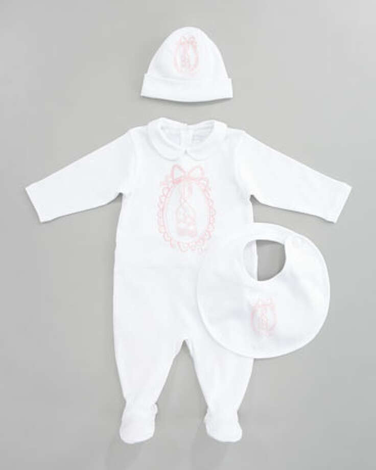Baby Dior layette set, $435. This Christian Dior sleeper with a Peter Pan collar is fit for a princess! Comes with a matching hat and bib. neimanmarcus.com