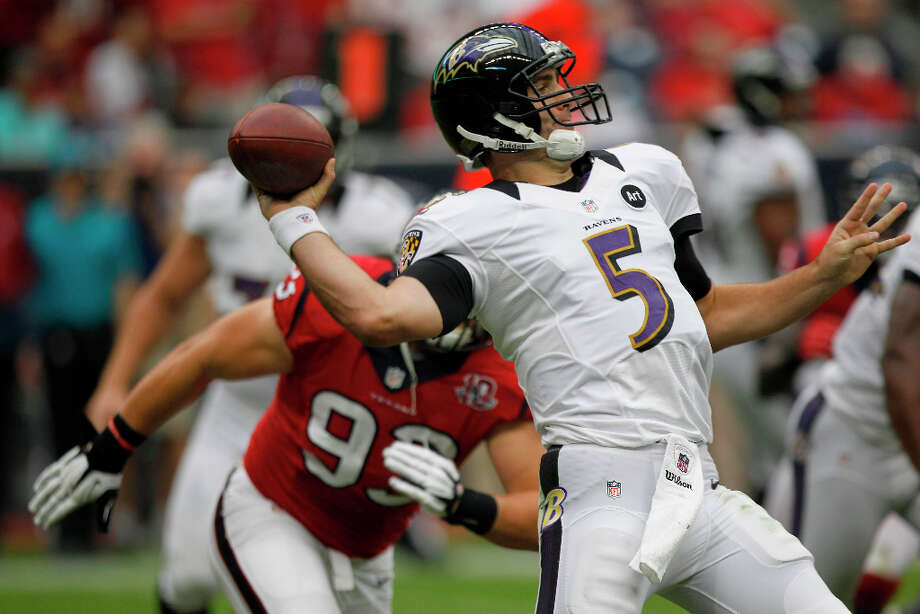 AWAYBaltimore (10-6)The Texans won't have to see Ray Lewis again (the linebacker is planning to retire) but the question is if Joe Flacco is still a Raven as the QB enters free agency. Photo: Brett Coomer, Houston Chronicle / © 2012  Houston Chronicle