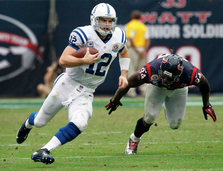 Andrew Luck threw for more than 7,000 during his high school career at Stratford. During his college career he was a two-time All-American for Stanford. In 2012, the quarterback was the No. 1 overall pick in the NFL Draft. Photo: Brett Coomer, Houston Chronicle / © 2012  Houston Chronicle