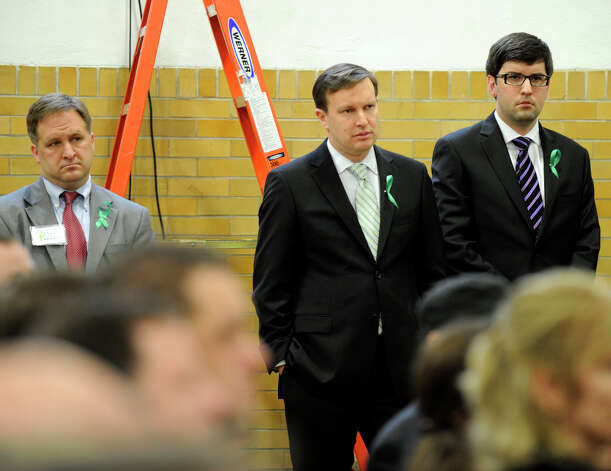 U.S. Senator Chris Murphy listens to a press conference held by Sandy Hook Promise, a grassroots initiative to end gun violence, at the Edmond Town Hall in Newtown, Monday, January 14, 2013. Photo: Carol Kaliff / The News-Times