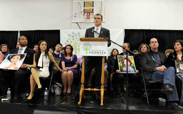 Tim Makris, co-founder of the Sandy Hook Promise, speaks at a press conference held Monday, January 14, 2013, at the Edmund Town Hall in Newtown. Photo: Carol Kaliff / The News-Times