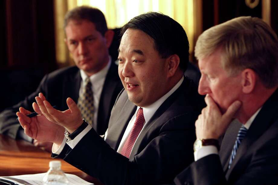 Woo Jeong Lee, chairman and founder of Nexolon to speaks to the San Antonio Express-News Editorial Board about the CPS Energy/Brook Development Authority deal. Photo: Helen L. Montoya, San Antonio Express-News / ©2013 San Antonio Express-News