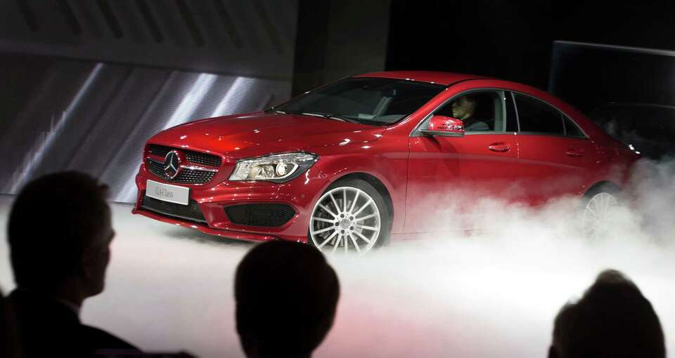 The Mercedes CLA class car is premiered at a press event  on the eve of the 2013 North American Inte