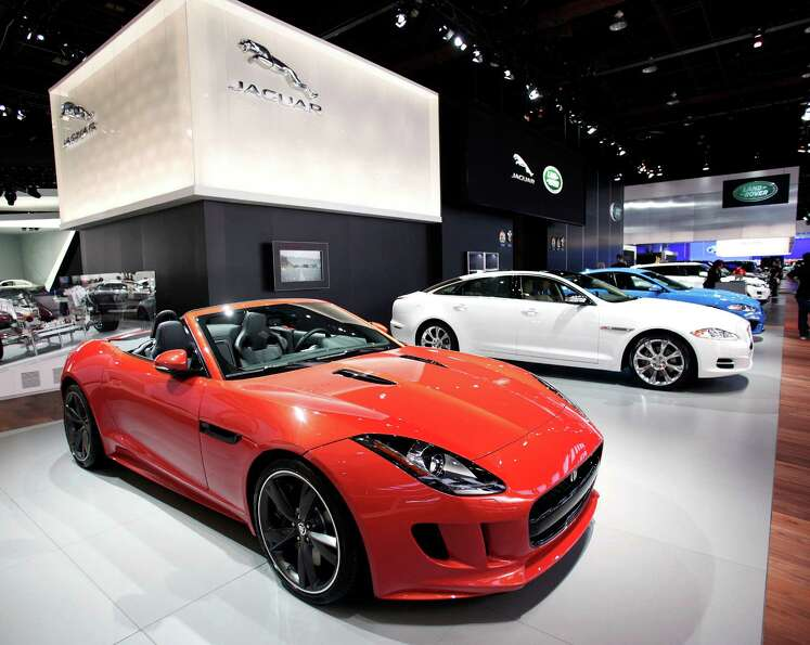 DETROIT, MI - JANUARY 14:  Cars are displayed at the Jaguar exhibit at the 2013 North American Inter