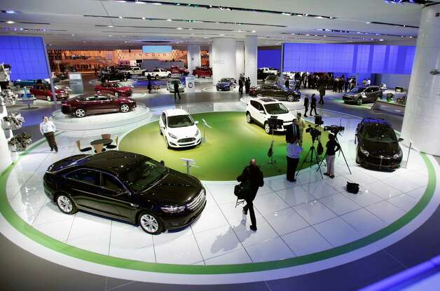 DETROIT, MI - JANUARY 14:  Cars are displayed at the Ford exhibit at the 2013 North American International Auto Show media preview at the Cobo Center January 14, 2013 in Detroit, Michigan. Approximately 6,000 members of the media from 68 countries are attending the show this year. The 2013 NAIAS opens to the public  January 19th. Photo: Bill Pugliano, . / 2013 Getty Images