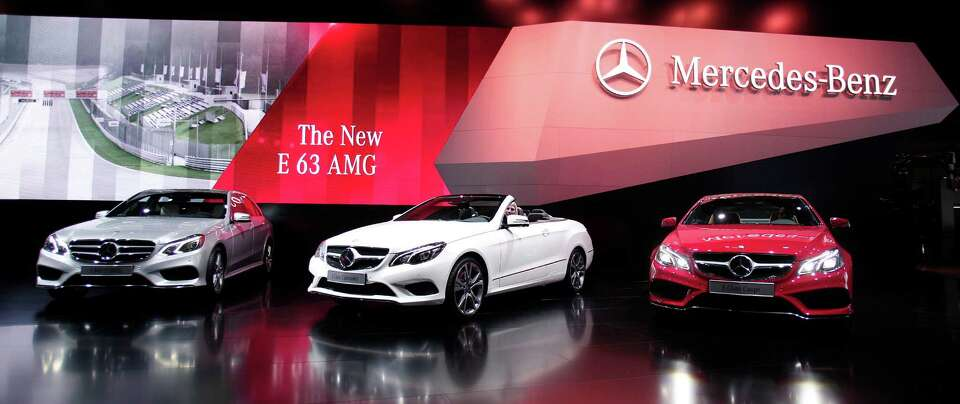 DETROIT, MI - JANUARY 14: New 2014 Mercedes-Benz E-Class vehicles are shown at the 2013 North Americ