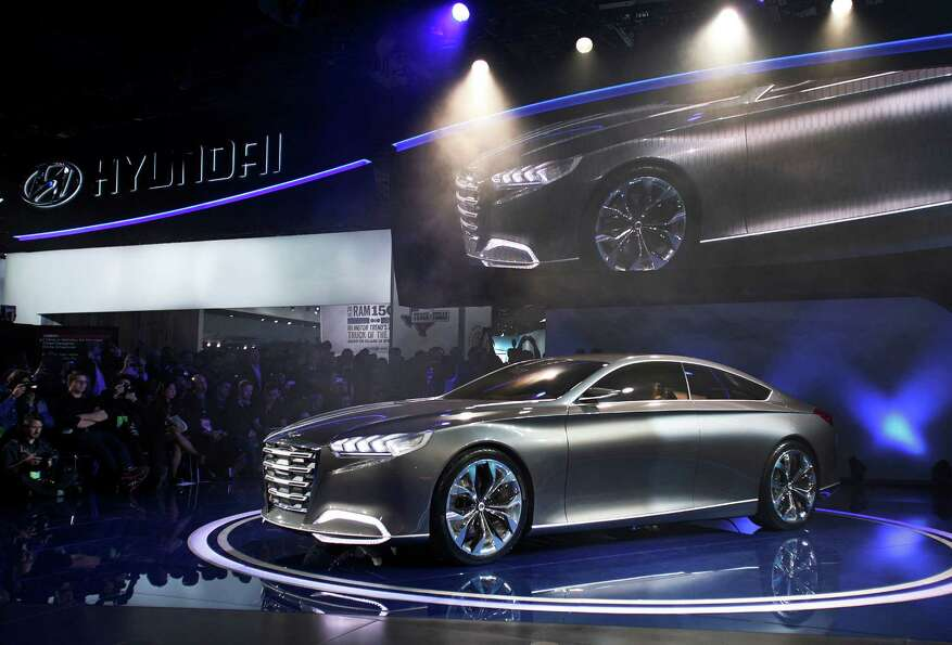 DETROIT, MI - JANUARY 14: The Hyundai HCD-14 concept vehicle is revealed at the 2013 North American