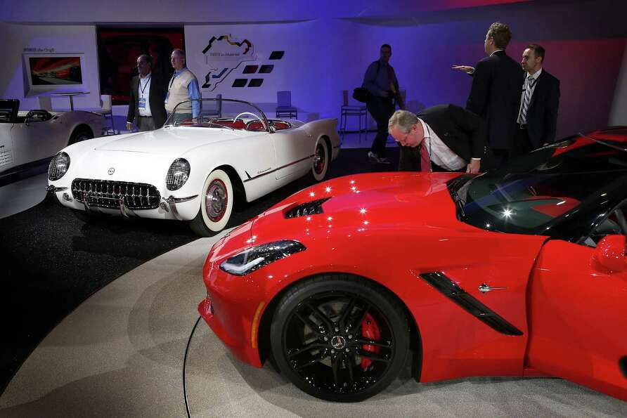 DETROIT, MI - JANUARY 14:  A first and next generation Chevrolet Corvette are displayed during the m