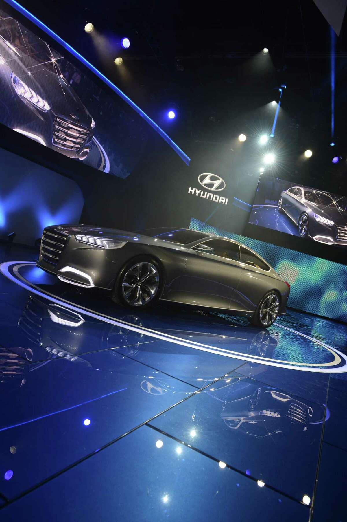 The Hyundai HCD-14 concept car is introduced at the 2013 North American International Auto Show in Detroit, Michigan, on January 14, 2013. AFP PHOTO/Stan HONDA