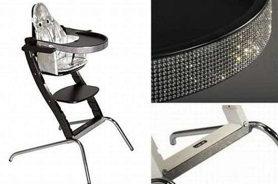 Swarovski high chair, $15,000. This special edition high chair sparkles with crystals on the edge of