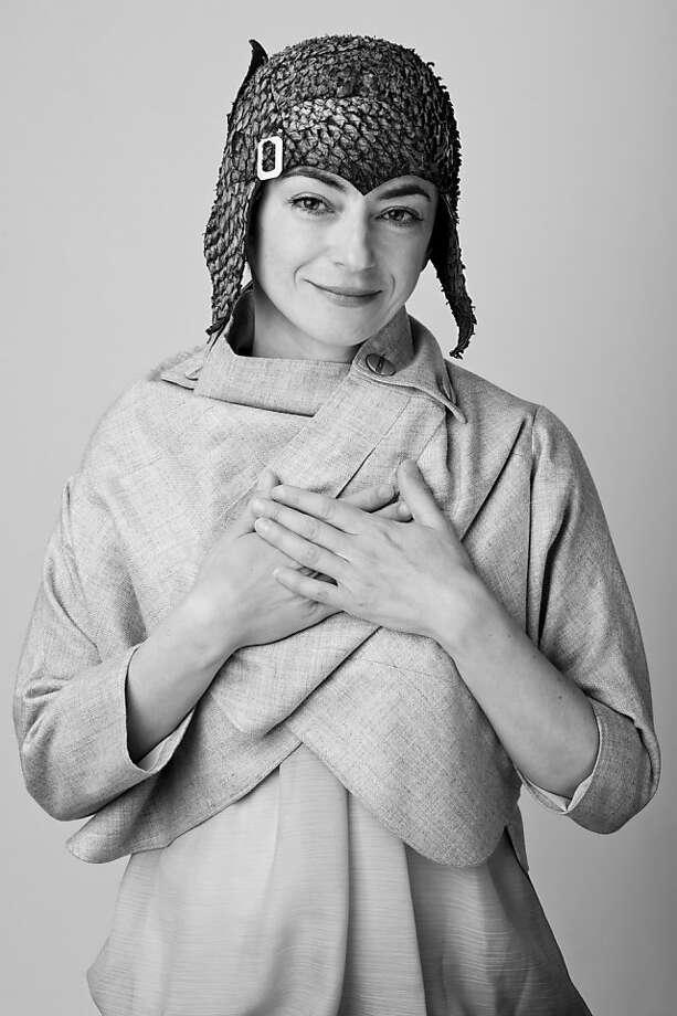 Jasmin Zorlu creates sculptural headwear. Photo: Liz Caruana