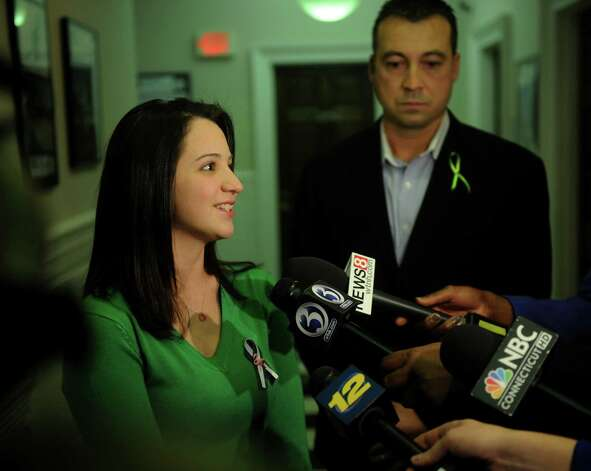 Jillian Soto, sister of slain Sandy Hook Elementary School teacher Victoria Soto, was happy that a school would be named in honor of her sister, at the Town Council meeting in Stratford on Monday, January 14, 2013. The school, to be named Victoria Soto School, will be on the campus of Stratford Academy. Photo: Brian A. Pounds