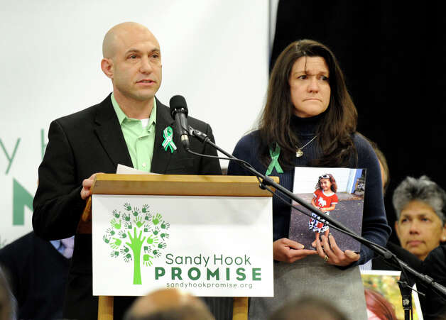 Jeremy Richman and Jennifer Hensel, parents of Avielle, one of the children killed in the Sandy Hook Elementary School shootings, address a press conference Monday morning at the Edmond Town Hall, for a grassroots initiative to end gun violence, Sandy Hook Promise, January 14, 2013. Photo: Carol Kaliff / The News-Times