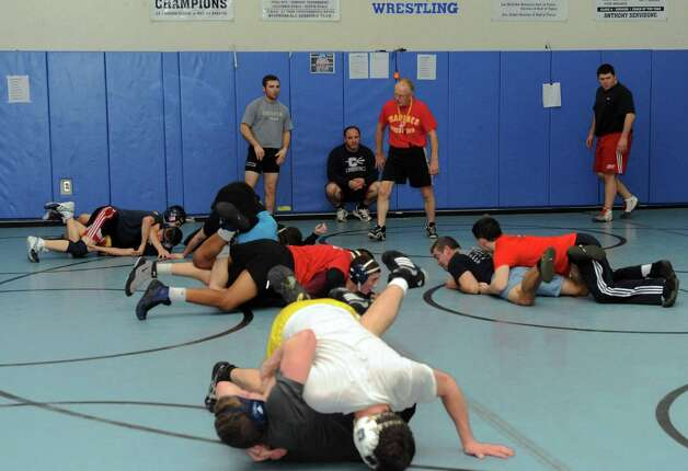 Columbia High School wrestlers practice in East Greenbush, N.Y. Tuesday Jan. 8, 2013. (Michael P. Farrell/Times Union) Photo: Michael P. Farrell