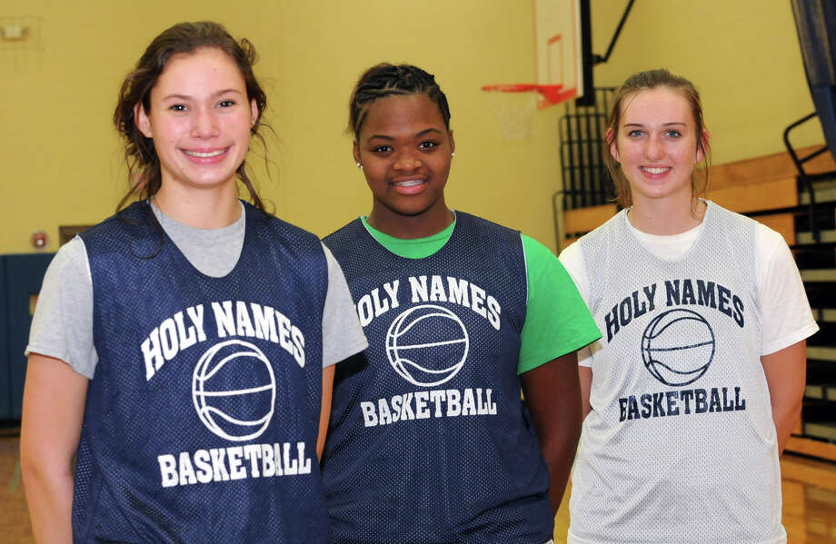 Holy Names forwards Hannah Friend, De'Janaire Deas and Mary Kate Murray during a basketball practice on Monday Jan. 14, 2013 in Albany, N.Y. (Lori Van Buren / Times Union) Photo: Lori Van Buren
