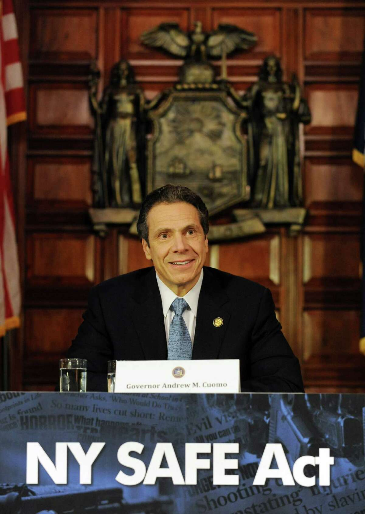 Governor Andrew Cuomo holds a press conference at the Capitol about a bill to broaden the state's definition of banned assault weapons, increase penalties for those convicted of gun crimes and create a statewide registry of assault rifles on Monday Jan. 14, 2013 in Albany, N.Y. (Lori Van Buren / Times Union)