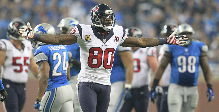Wide receiverUnder contract:Andre Johnson, Lestar Jean, Keyshawn Martin, DeVier Posey, Kevin Walter, p-Jeff Maehl.Free agents: None.Assessment: After a spotty start this season, Johnson showed he still has plenty in the tank, and he promises to return every hungrier next year. But it's time to begin preparing for life after 'Dre, so the Texans could take a receiver with the 27th pick in the first round. Jean and Martin arguably have lots of upside potential, but Posey's future has been clouded by the Achilles tendon injury he suffered Sunday. Photo: Karen Warren / © 2012  Houston Chronicle