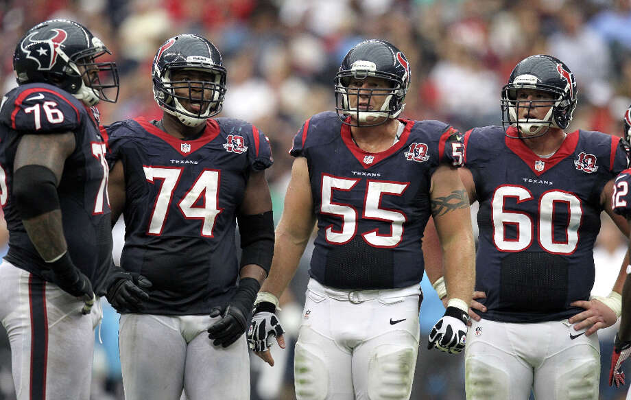 Offensive lineUnder contract:Duane Brown, Wade Smith, Chris Myers, Ben Jones, Brandon Brooks, Derek Newton, Cody White, p-Nick Mondek.Restricted free agent: Anthony Gardner.Free agents: ir-Rashad Butler, Antoine Caldwell, Ryan Harris.Assessment: Butler and Harris, who was signed only because Butler got hurt, are likely gone, and so is Caldwell, whose promise has been negated by a string of nagging injuries. Jones and Brooks struggled at right guard as rookies but can't be judged too harshly yet. Ditto Newton, an overachieving seventh-round draft pick who won the starting job at right tackle during training camp before Butler suffered a season-ending injury. Photo: Nick De La Torre / © 2012  Houston Chronicle