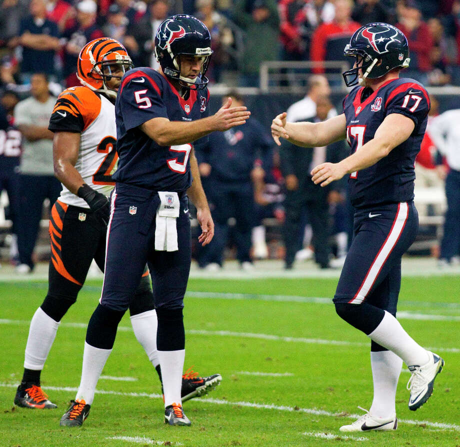 Special teamsUnder contract: Randy Bullock, Jon Weeks (deep snapper).Free agents: Shayne Graham, Donnie Jones.Assessment: Graham set the franchise scoring record while kicking 16 field goals over the final 6½ games when Schaub and the offense repeatedly bogged down. But the rookie Bullock was supposed to be the kicker of the future when he was drafted fifth out of Texas A&M, and the Texans haven't lost faith in him for the long term despite the torn groin muscle he suffered during training camp. They'll re-sign the serviceable Jones unless someone better becomes available at the right price. Photo: Brett Coomer / © 2013  Houston Chronicle