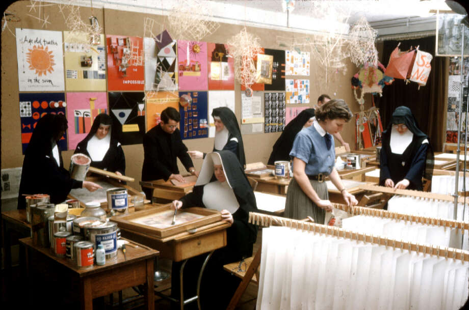 Immaculate Heart silkscreen room, courtesy of Corita Art Center, Los Angeles.