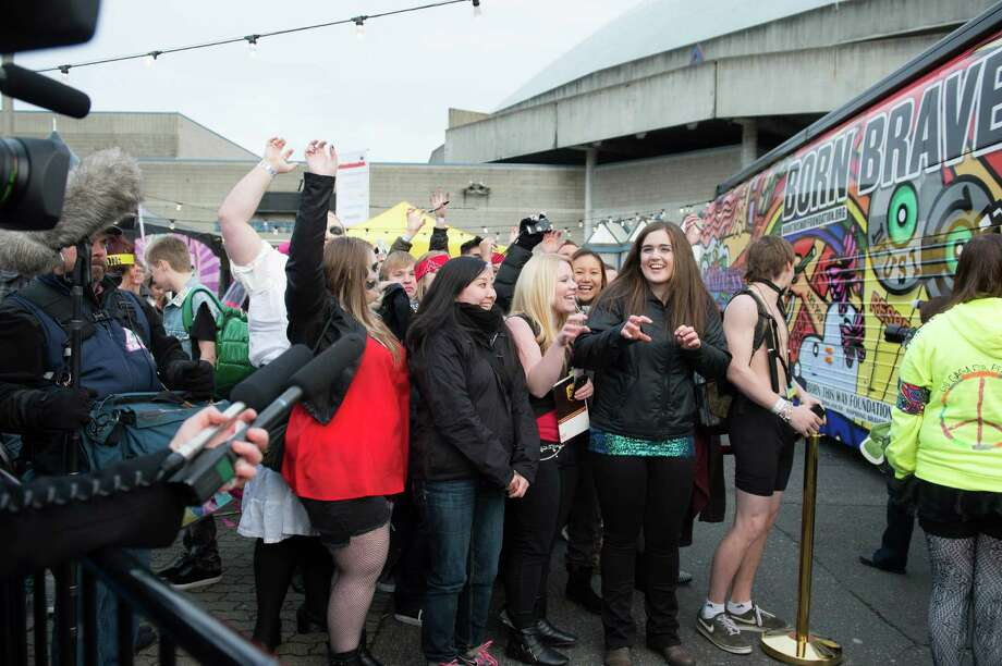 Fans surround Lady Gaga's Born Brave Bus. Photo: CHONA KASINGER, FOR SEATTLEPI.COM / FOR SEATTLEPI.COM