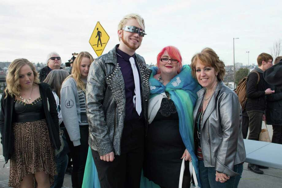 Shane, Desiree, and Sue stand in line to get into Lady Gaga's Monster Pit. Photo: CHONA KASINGER, FOR SEATTLEPI.COM / FOR SEATTLEPI.COM