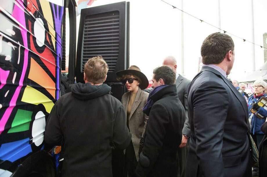 Lady Gaga boards her Born Brave Bus.  Photo: CHONA KASINGER, FOR SEATTLEPI.COM / FOR SEATTLEPI.COM