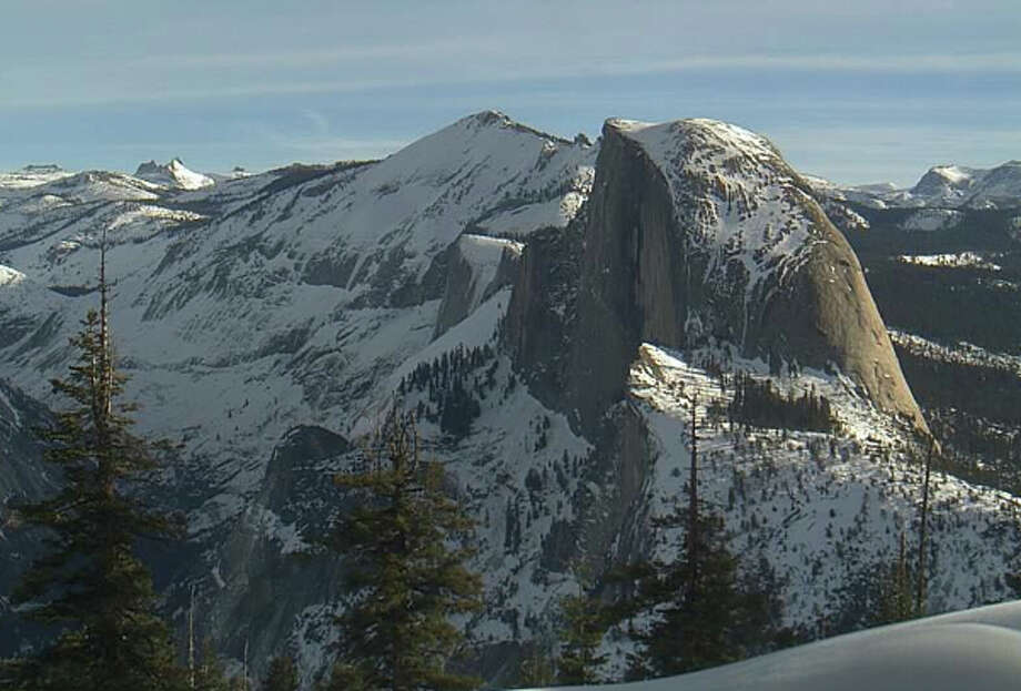 View looking out from Glacier Point over Half Dome Tuesday