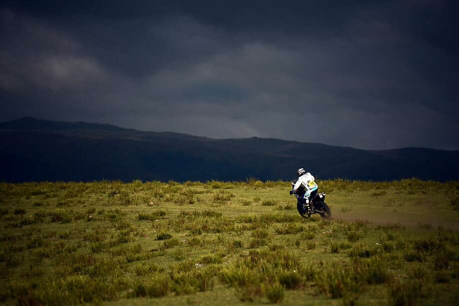 There goes Dave: Yamaha's David Casteu rides his bike over the Argentine pampas between Tucuman and Cordoba, the home of rich Corinthian leather, during Stage 9 of the Dakar 2013. Photo: Franck Fife, AFP/Getty Images